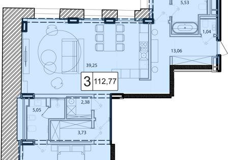 Продаётся 3-комнатная квартира, 113.8 м²