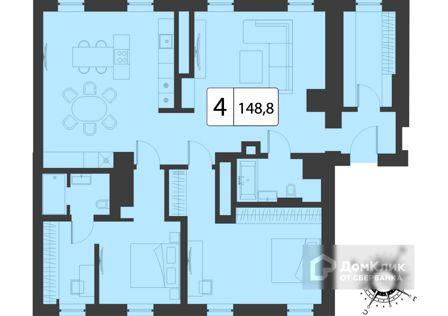 Продаётся 4-комнатная квартира, 148.8 м²
