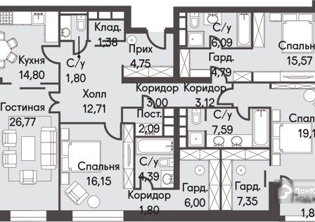 Продаётся 3-комнатная квартира, 161.2 м²