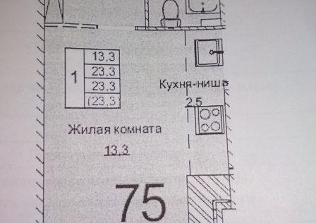 Продаётся студия, 23.3 м²