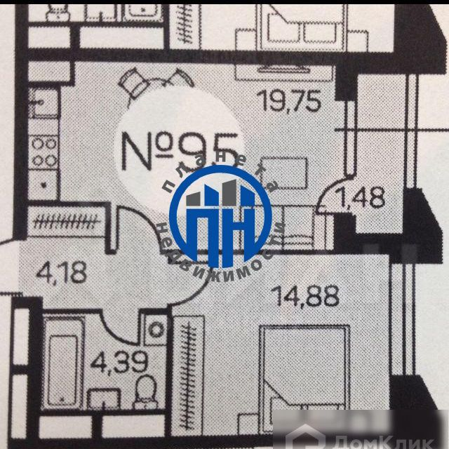 Продаётся 1-комнатная квартира, 44.68 м²