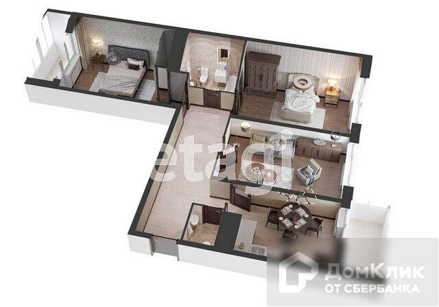 Продаётся 3-комнатная квартира, 94.74 м²