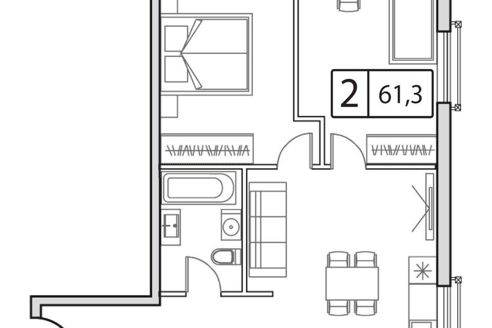 Продаётся 1-комнатная квартира, 61.3 м²