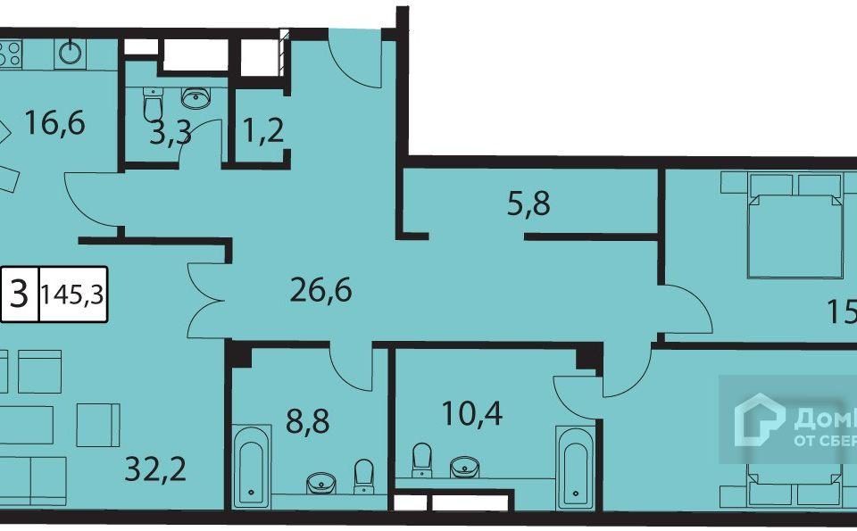 Продаётся 3-комнатная квартира, 147.3 м²
